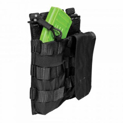 5.11 Tactical DOUBLE AK BUNGEE/COVER, N500D body/ N1050D base, Integrated elastic straps minimize noise generation, Includes standard cover flap cover and bungee cord retention, 56159