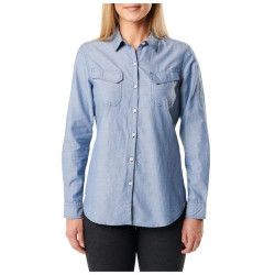 5.11 Tactical WOMEN'S CHAMBRAY SHIRT, Dual chest pockets Satin, steam neck tape, Scope label at hem, 100% cotton chambray, 62383
