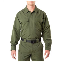 5.11 Tactical 72465 Fast-Tac TDU Long Sleeve, Uniform Button-Down Shirt, 2 Chest Pockets, Water Resistant, Badge Tab, Polyester Ripstop Fabric, Black, TDU Khaki, TDU Green, or Dark Navy