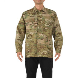 5.11 Tactical 72013 Long Sleeve Uniform Button-Down Multicam TDU Tactical Shirt, 2 Chest Pockets, Sleeve Pocket, Adjustable Cuffs, Polyester/Cotton