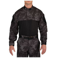 5.11 Tactical MEN'S GEO7™ FAST-TAC™ TDU®, Rapid Shirt, Pullover, 100% Polyester, Badge Tab, Choose Black/Camo or Tan/Camo 72488G7