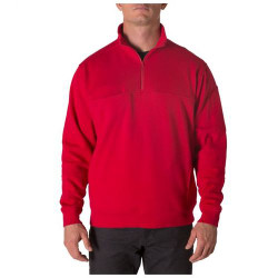 5.11 Tactical 72441 MEN'S PULLOVER UTILITY 1/4 ZIP JOB SHIRT, Fade and shrink resistant, Polyester/Spandex, One Chest Pocket, Mic Loop at both shoulders, Regular Fit, available in Range Red and Fire Navy Blue