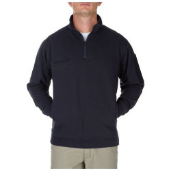 5.11 Tactical 72441T MEN'S PULLOVER UTILITY 1/4 ZIP JOB SHIRT, Fade and shrink resistant, Polyester/Spandex, One Chest Pocket, Mic clip pockets at both shoulders, and Tall Fit,  Fire Navy Blue