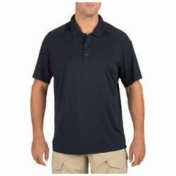 5.11 Tactical Men's Helios Short Sleeve Polo Shirt, Sunglass Loop, Shoulder Mic Strap, available in Heather Grey, Charcoal, Black, Silver Tan, Range Red, Academy Blue, and Dark Navy 41192