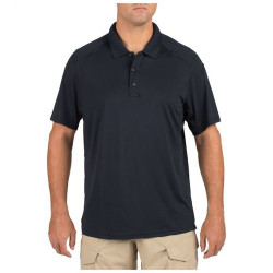 5.11 Tactical Men's Helios Short Sleeve Polo Shirt, Shoulder and Sternum MicLoops, for Casual or Uniform Use, available in Heather Grey, Charcoal, Black, Silver Tan, Range Red, Academy Blue, and Dark Navy 41192