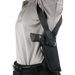 BLACKHAWK NYLON VERTICAL SHOULDER HOLSTER - WITHOUT SCOPE, Constructed of 1000 denier CORDURA® nylon outer material and waterproof closed-cell foam padding, Adjustable, non-stretch retention strap with molded finger break, Black, 40VH
