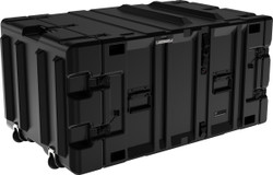 Pelican Hardigg Classic V Series: 7U Transport for Rack Mountable Electronics, includes 2 edge casters, with 2 Lockable Cable Catches per lid and Black stainless steel handles, Available in Black, 49x28x22, 82 lbs