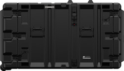 Pelican Hardigg Classic V Series: 9U Transport for Rack Mountable Electronics, includes 2 edge casters, with 2 Lockable Cable Catches per lid and Black stainless steel handles, Available in Black, 49x28x26, 92 lbs