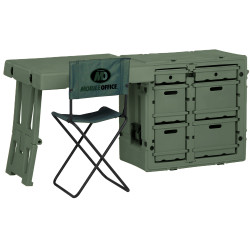 Pelican 472-FLD-DESK-TA Field Desk, with six large drawers and Sturdy Field Chair that includes a backrest and can be folded and stored in the lid, Available in Black and OD Green, 31x21x29, 89 lbs