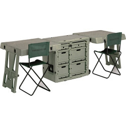 Pelican 472-FLD-DESK-DD  Field Desk, With Six Large Drawers and Two Sturdy Field Chairs That Includes a Backrest and Can be Folded and Stored in the Lid, Available in Black and OD Green, 34x25x29, 130 lbs