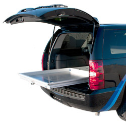 """Jotto-Cargo Slide, SUV Cargo Slide fits Chevy Tahoe PPV (2015-2021+), 800 lbs Capacity, 44"""" Length, 46"""" Width, Weighs 81 lbs, Aluminum, includes AlumaPlank Flooring system"""