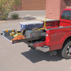 "Cargo-Glide CG1000 Ford F150, Shortbed, 5.5ft, Steel Truck-Bed Slide and Extender, 1000 lb capacity, 65-75% Extension, 4"" side rails, 3.875"" deck height, includes installation kit"