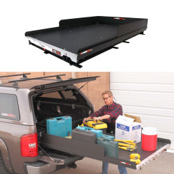 """Cargo-Glide CG1500XL Suburban/Yukon XL Steel Truck-Bed Slide and Extender, 1500 lb Capacity, 100% Extension, 4"""" Side Rails with 8"""" High Sides, 6.25"""" or 5.25"""" Deck Height, Includes Installation Kit"""