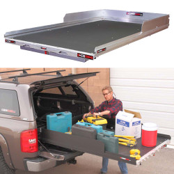 """Cargo-Glide CG2200HD Chevy Tahoe Steel Truck-Bed Slide and Extender, 2200 lb Capacity, 65-75% Extension, 4"""" Side Rails with 8"""" High Sides, 5.25"""" Deck Height, Includes Installation Kit"""