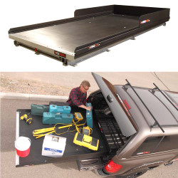 """Cargo-Glide CG2200XL Chevy Tahoe Steel Truck-Bed Slide and Extender, 2200 lb Capacity, 65-75% Extension, 4"""" Side Rails with 8"""" High Sides, 6.5"""" or 5.5"""" Deck Height, Includes Installation Kit"""