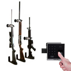 Tufloc X-Lock, Locking Gun Rack for Homes or Residential, Fits Rifles and Shotguns, Wall or Surface Mount, Lock Functions with Keys or Optional Finger-print Reader Kit, Stainless Steel