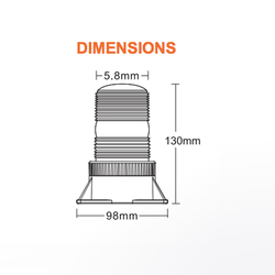 Brooking JB106L3-D0A Economy 3-Diode LED Beacon, 5x4, Choose Magnetic or Permanent Mount, Available in Amber