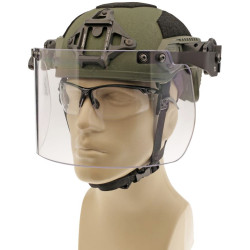 "Paulson DK7-H.150-RC Field-mount Tactical Face Shield designed to fit ballistic helmets with the Ops-Core® side rail system. Helmet not included. Shield length 6"", thickness 0.150"""