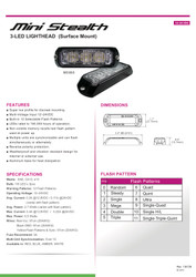 Brooking Industries MS3BS 3 LED Surface Mount Lighthead, Black Bezel Included, 12 Flash Patterns Available 3x1x0.6