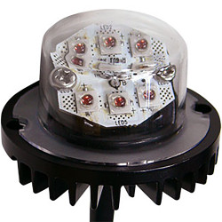 Brooking Industries HAL06 6 LED Hide-Away Lighthead, with Surface Mount Black Bezel Flange Included, 19 Flash Patterns Available, 1 Inch Diameter, Two Lightheads Included, Single or Split Color 1x1x1