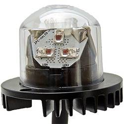 Brooking Industries HAL09 9 LED Hide-Away Lighthead, with Surface Mount Black Bezel Flange Included, 19 Flash Patterns Available, 1 Inch Diameter, 2 Lightheads, Single Color 1x1x1