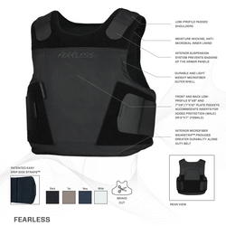Armor Express ® Fearless Men's Concealable Non-Ballistic Body Armor Carriers, Choose Carrier only or Carrier and Plates, NIJ Certified Spike - Level 1, Level 2, Level 3,  featuring a proprietary yoke design aiding in comfort and concealment