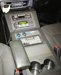 Jotto-Desk 425-6505 Ford Law Enforcement Interceptort PI Utility 2020 Equipment Console to mount sirens, radios, etc., contour, relocates the OEM USB/12V inputs for user convenience, includes faceplates and filler panels