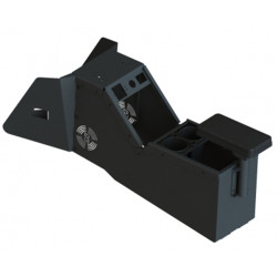 Gamber Johnson 7170-0734 2020 Ford Police Interceptor® PI Utility Low Profile Console, includes Three Faceplates and Three Fillers, with optional cup holders, armrest, printer armrest, and mongoose kit