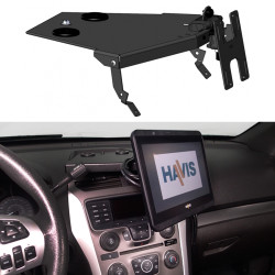 Havis C-DMM-2001 Dashboard Monitor or Tablet Mount for 2013-2019 Ford Interceptor Utility Vehicle, Landscape or Portrait Applications with Tilt Swivel Motion for Left, Right, Up and Down Positioning