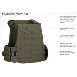 Armor Express ® Fearless Overt Tactical Ballistic Body Armor Carrier Combo, With 4 Point quick release system, removable cummerbund and removable shoulder pads, Includes  NIJ Certified Level IIIA Plates