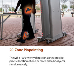 Garrett MZ-6100™ Walk-Through Metal Detector, 1171000 30 inch width or 1171005 32.5 inch width, with Auto-Scan Function
