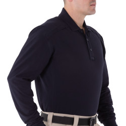 First Tactical 111502 Mens Cotton Long Sleeve Polo, Uniform or Casual, Sternum Mic Loop, Shoulder Mic Loop, Midnight Navy
