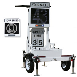 Decatur Electronics OnSite OS-300MX Radar Speed Sign Trailer with Matrix Messaging, Folding Speed Display for Easy Transport and Storage, Optional Solar Panel
