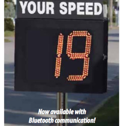 MPH Radar Speed Sign Package, Monitor IV, 2-Digit Red Display, 12 Volt DC Power Cord, Display Stand, Can Be Mounted Anywhere With 12V Power