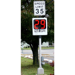 MPH Speed Monitor F Radar Speed Sign, Pole Mounted, Pole Not Included, choose 110 Volt AC or Solar Power, 2-Digit Red Display