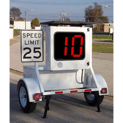 MPH Patrol Radar Speed Display Trailer, 2-Digit Red or Amber Display, optional Solar Power
