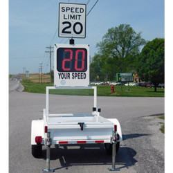 MPH Radar Speed Trailer, 18-inch Display, Raises to 8 feet high, Foldable, 2-digit red or amber display, includes changeable speed limit sign