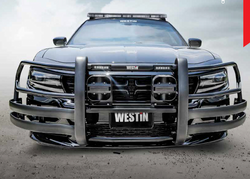 Westin Push Bar lite, Dodge Charger Pursuit 2011-2019, Brush Guard, Optional LED Warning Lights, Optional Pit Bar and Wing Wraps