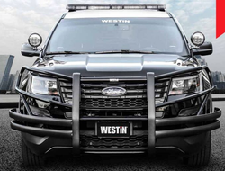 Westin Push Bar Elite, Ford Police Interceptor Utility 2012-2019, Brush Guard, with Optional LED Warning Lights, Optional Pit Bar and Wing Wraps