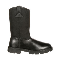 Rocky FQ0006300 Men's 10 Inch Warden Pull-On Wellington Uniform Public Service Boots, available in Extra Wide, Medium Wide  or Wide Width, Black