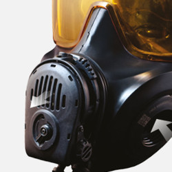 Avon Protection FM53 Twinport Assembly, Single Mask (APR) Air Purifying Respirator, Scratch Resistant, Communication Port for Integrated Voice Projection