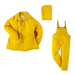 Neese 1600S Economy Uniform 3 Piece Rain Suit, PVC/Polyester, Detachable Hood, Waterproof, Yellow