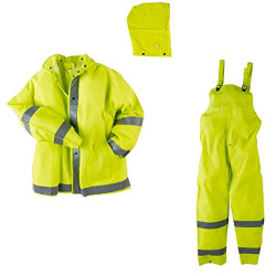 Neese 1820S Econo-Viz 3 Piece Uniform Rainsuit with 2 Inch Reflective Tape, PVC/Polyester, Detachable Hood, Waterproof, High-Viz Lime