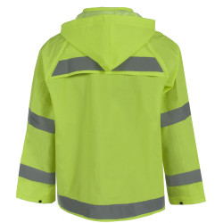 Neese 1820J Econo-Viz Uniform Jacket with Snap-On Hood with 2 Inch Reflective Tape, PVC/Polyester, Detachable Hood, Waterproof, High-Viz Lime