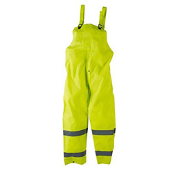Neese 1820BTF Econo-Viz Uniform Bib Trouser with Safety Fly with 2 Inch Reflective Tape, PVC/Polyester, Waterproof, High-Viz Lime