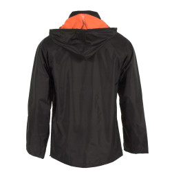Neese 447RJH Reversible Uniform 32 Inch Long Jacket, PVC/Nylon, Detachable Hood, Badge Tab, Waterproof, Black/Orange