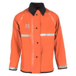 Neese 447RJH3M Reversible Uniform 32 Inch Long Jacket, PVC/Nylon, Reflective, Detachable Hood, Badge Tab, Waterproof, Black/Orange