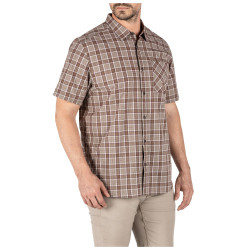 5.11 Tactical 71394 Carson Plain Short Sleeve Men's Button-Down Shirt, Casual, 1 Chest Pocket, Polyester/Cotton, Regular fit, available in Blueblood Plaid, Stone Plaid, and Patina Plaid