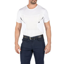 5.11 Tactical 41222 Men's CAMS Short Sleeve Uniform/Casual Baselayer Shirt, Polyester/Cotton Upper Body, Polyester/Spandex Lower Body and Side Pockets, Two side body underarm pockets for concealment and accessories, available in Black and White