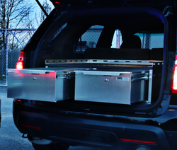 OPS Chevy Tahoe 2007-2020 SUV Storage Unit, Aluminum, Dual Drawer, 16 inches tall, OP-CTU-16-47-36-DX, Designed for Law Enforcement and Public Safety